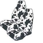 Set of 2 Universal-Fit Animal Print Front Bucket SUV Truck Seat Cover w/ Arm Rest Opening - Cow