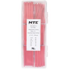 NTE Heat Shrink 2:1 Red Assorted Sizes 2-1/2 158 Pc. Box