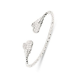 Childrens Sterling Silver Boxing Glove CZ Bangle - S00095 - Glove Width 9mm - Diameter 47mm.