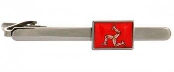 Manx Flag Rhodium Plate Tie Clip