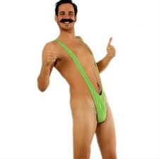 Borat Lime Green Mankini & Moustache Fancy Dress