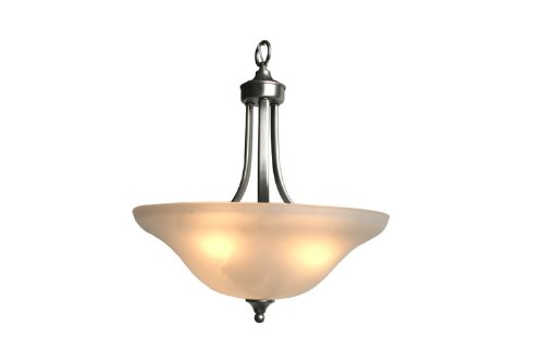 Yosemite Home Decor 3502Sn Maple Three Light Foyer Pendant, Satin Nickel Frame With Frosted Alabaster Shades front-262822
