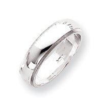 Sterling Silver 5mm Milgrain Band Ring - Size 8.5 - JewelryWeb