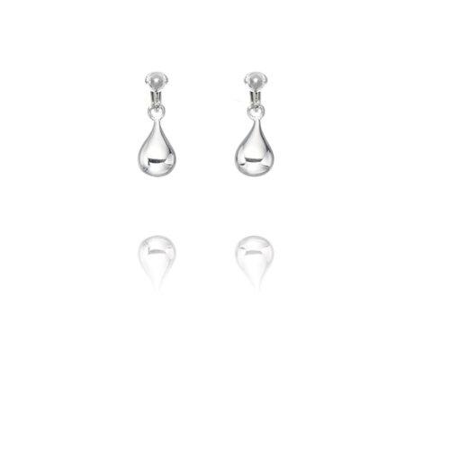 Basics Sterling Silver Simple Teardrop Clip On Earrings