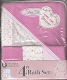 Rene Rofe Bon Bebe 4 Pc Bath Set Bath Blanket & 3 Washcloths (Pink/White)