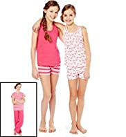 3 Pack Pure Cotton Flamingo Print Pyjamas