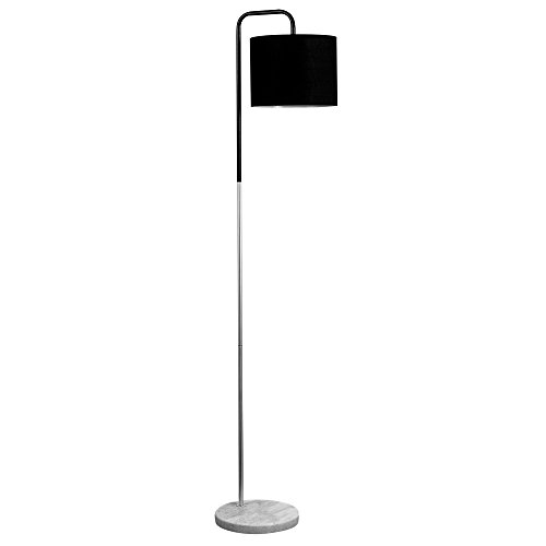retro-style-black-chrome-metal-white-marble-base-floor-lamp-complete-with-a-black-fabric-cylinder-sh