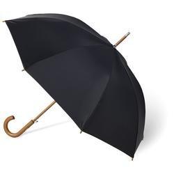 Totes Men's Blue Line Auto Wooden Stick Umbrella, Black, One Size image