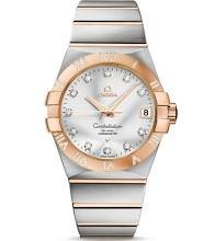 Omega Constellation Silver Dial Rose Gold and Steel Diamond Mens Watch 12325382152003