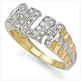 Jewelco London 9ct Solid gold cubic zirconia set Mum Ring,Size V