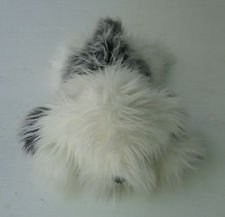 Russ Berrie Shags English Sheep Dog White Gray Furry Soft Plush Bean Bag 15""