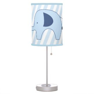 Blue Mod Elephant With Light Blue Stripes Nursery Lamp (Blue Trim On Shade) front-193179
