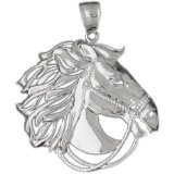 CleverEve 14K White Gold Pendant Two Tone Horse 10.7 Grams