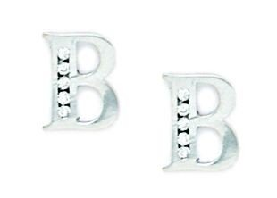 14ct White Gold CZ Large Initial B Earrings - Measures 10x8mm