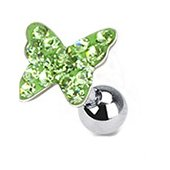 Gekko Body Jewellery Surgical Steel 16 Gauge (1.2mm) Tragus / Cartilage Barbell with Green Multi Paved Butterfly Top