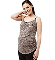 Maternity Pure Cotton Ruched Animal Print Chemise