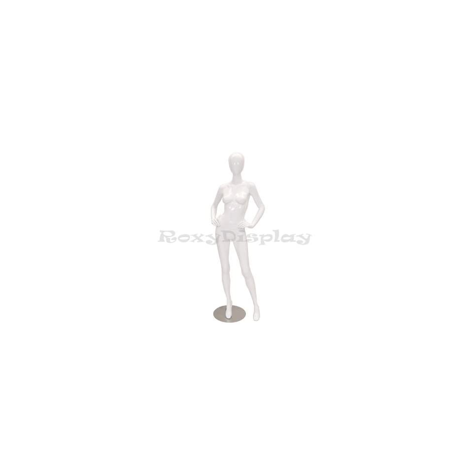 (MD A4W1) Abstract Female Egg Head Mannequin Glossy White Fiber Glass