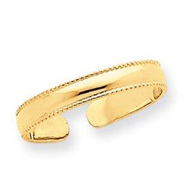 14k Mill Grain Adjustable Toe Ring - JewelryWeb