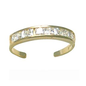 SQUARE Channel-Set CZ Eternity Band 14K Yellow Gold Toe Ring