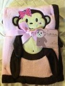"Pink Applique ""Monkey"" Baby Blanket"