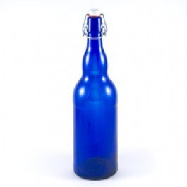 1 Liter Cobalt Blue Flipper Bottles (Grolsch Style) 33 oz (Case of 12 bottles)