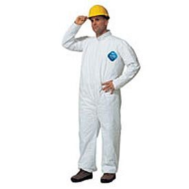 Poly Coated Tyvek® Disposable Coveralls With Open Ended Wrists/Ankles, Large, Case Of 12