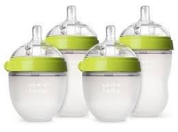 Comotomo - Baby Bottles - Baby Feeding - Green - 4 Pack - Two 5 Ounce Bottles and Two 8 Ounce Bottles