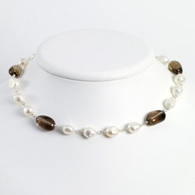 Sterling White Cult. Pearl Smokey Quartz Necklace - 16 Inch - Lobster Claw - JewelryWeb