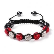 Eeazy-Gizmo® Silver/Red Shamballa Bracelet Unisex Crystal Swarovski Beads