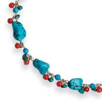 Sterling Silver Dyed Howlite/Turquoise/Red Coral Necklace - 16 Inch