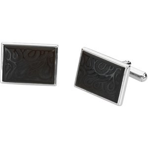Sterling Silver Genuine Onyx Cuff Links 13x18mm - JewelryWeb