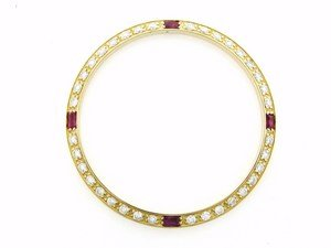 Mens 1ct Diamond Bezel 18ky for Rolex with 4 Rubies