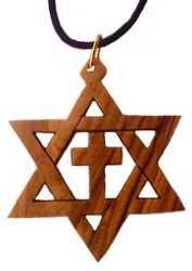 Olive Wood Star of David & Cross
