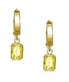 14ct Yellow Gold 7x5 mm Emerald-Cut Yellow CZ Earrings