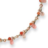 Sterling Silver Carnelian/Rose Quartz/Cultured Pearl Necklace - 16 Inch