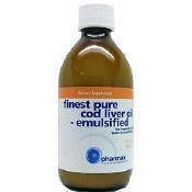 Finest Pure Cod Liver Oil Emulsified 10.1 Oz (300 Ml) By Pharmax