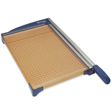 """Acme United Corporation Products - Paper Trimmer, 18"""", 13-3/5x26""""x3"""", Woodgrain/Blue - Sold as 1 EA - Heavy-duty guillotine trimmer trims and cuts evenly. Use adjustable paper guide for precise cutting. Durable trimmer easily cuts up to 10 sheets of 20 lb. paper at a time. Design features stainless steel blades, a built-in grip handle and wood base to keep the cutter securely on the table."""