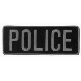 "POLICE Officer Large Uniform BACK PATCH Badge Emblem Insignia 11"" x 4"" GRAY on BLACK"