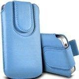 N E Fing Light Blue PU leather magnet button pull tab case for Samsung S5230 Star, Tocco Lite(s)