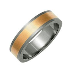 Titanium and 9ct Rose Gold Ti2 Flat Band Ring -Size P