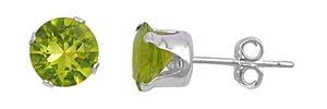 3mm Sterling Silver Cubic Zirconia Stud Earrings All Colors All Birthstones Stud Earrings (Peridot)