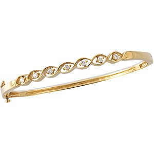 Genuine IceCarats Designer Jewelry Gift 14K Yellow Gold Diamond Bangle Bracelet.