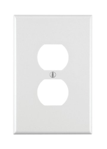 Leviton 88103 1-Gang Duplex Device Receptacle Wallplate, Oversized, Thermoset, Device Mount, White