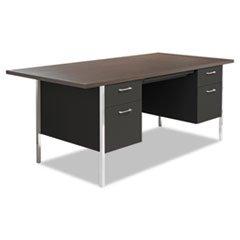 -- Double Pedestal Steel Desk, Metal Desk, 72w x 36d x 29-1/2h, Walnut/Black