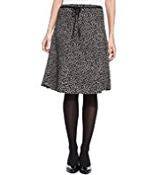 M&S Collection Square Spotted Crêpe Belted A-Line Skirt