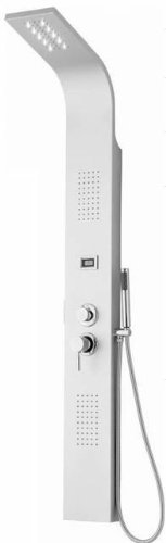 Silver Stainless Steel Hydrotherapy Massage Shower Panel with Water Jets, LED Light