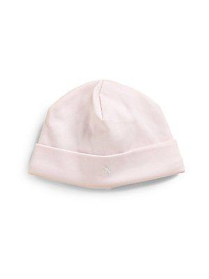 Ralph Lauren Childrenswear Newborns White Solid Cap (Del Pink) front-976346