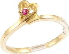 14k Yellow Gold, Dainty Abstract Heart Design Ring with Lab Created Red Colored Round Stone