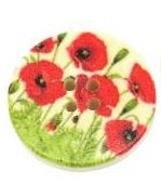 Pack of 10 Poppy Print 30mm Round Wooden Buttons