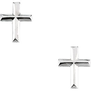 Genuine IceCarats Designer Jewelry Gift 14K White Gold Youth Polished Cross Earr. Pair 09.00X06.75 Mm;P;Childrens Polished Cross Earrings Youth Polished Cross Earr In 14K White Gold